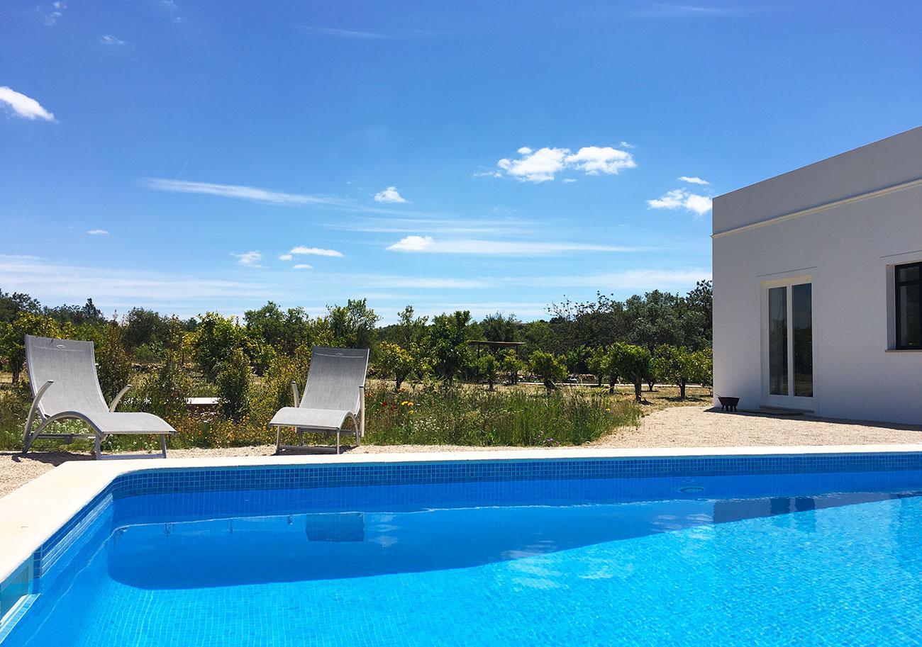 la piscine au milieu des orangers et des oliviers | cabanabranca